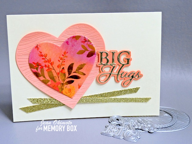 MemoryBoxWoodgrainHeart, MemoryBoxBigHugsPostScript, MemoryBoxHolidayGlitterPad, MemoryBoxPolishedFoilPad, MemoryBoxDoubleStitchLovingHeartCutOut, HeartDiecuts, ValentineDiecuts, MemoryBoxSunsetBlushWideWashiTape, MemoryBoxCo, WideWashiTape, DiecutWashiTape, WashiTapeCards, JeanOkimoto, DistressOxides,  ImpressCardsAndCrafts, StampsAndMemoriesHawaii