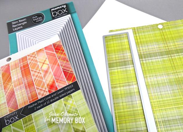 MemoryBoxMadrasPlaidCoralAndGreen, MemoryBoxSlimBasicRectangleLayers, JeanOkimoto, PlaidCards, ImpressCardsAndCrafts