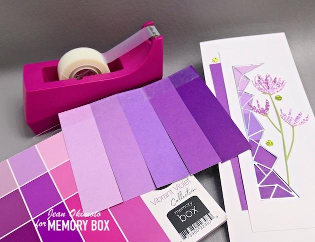 MemoryBoxSlimBasicRectangleLayers, MemoryBoxCrystalBorder, MemoryBoxWildflowerStems, MemoryBoxVibrantViolet6x6, MemoryBoxLushGreen6x6, MemoryBoxGracefulGardenGlitterPad, MemoryBoxPolishedFoil6x6Pad, MemoryBoxDies, MemoryBoxDiecuts, FlowerDiecuts, BorderDiecuts, GlitteredDiecuts, SlimlineCards, JeanOkimoto, OmbreDiecuts, ImpressCardsAndCrafts, StampsAndMemoriesHawaii, HandmadeCards