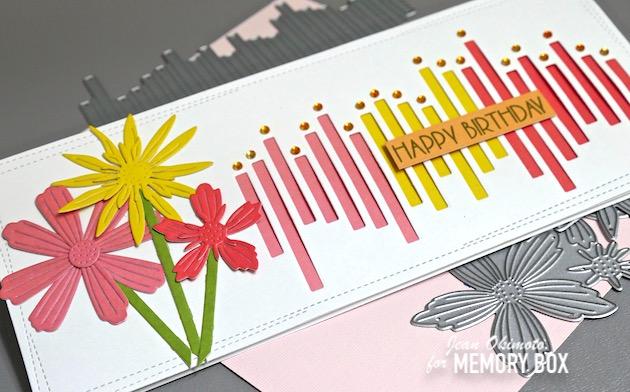 MemoryBoxSunnyOrange6x6, MemoryBoxLushGreen6x6, MemoryBoxBerryRed6x6, MemoryBoxJumbledLineCollage, MemoryBoxVerticalLineCollage, MemoryBoxFairyJewels, MemoryBoxWrappedStitchedSlimRectangles, MemoryBoxLayeredDaisies, MemoryBoxLayeredFreshFlowers, MemoryBoxLayeredCosmos, PoppystampsBirthdayBlowoutClearStamps, JeanOkimoto, SlimlineCards, FlowerCards, HandmadeBirthdayCards, FlowerDiecuts, CandleCards, PaperPiecedCards, ImpressCardsAndCrafts, StampsAndMenoriesHawaii