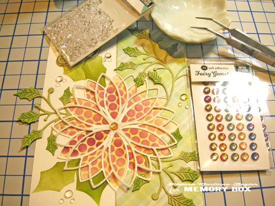 Stencil poinsettia supplies beads