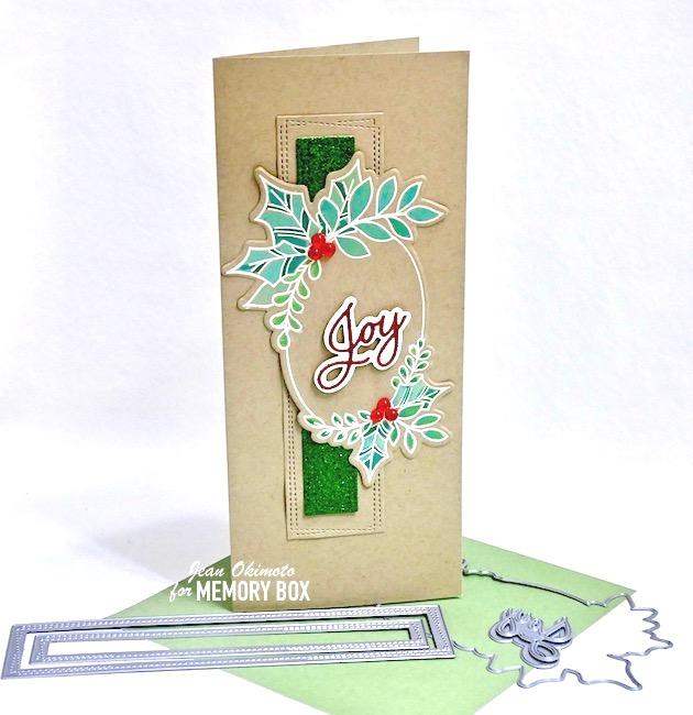 MemoryBoxFestiveChristmasGreetingsClearStampsAndDies, MemoryBoxJoyPostScript, MemoryBoxGlitzyGlitterPad, MemoryBoxWrappedStitchedSlimRectangles, MemoryBoxChristmasFairyJewels, SlimlineCards, DiecutCards, HandmadeChristmasCards, DistressOxidesWatercoloring, GlitteredDiecuts, DIYCards, Cardmaking, Papercrafts, ChristmasPapercrafts, ImpressCardsAndCrafts